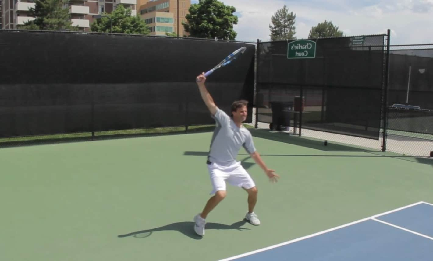 One handed backhand topspin finish